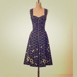 ANTHRO Ruched Martin Bird Dress